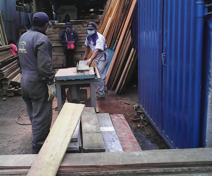 Maximo sawing planks for the hold deck.