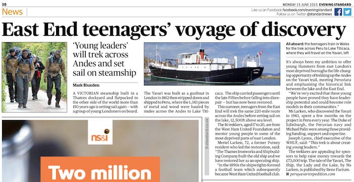 London Evening Standard article